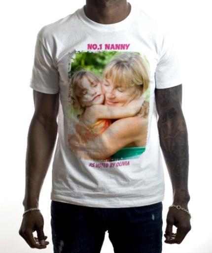 T-Shirts - Number One Nanny Personalised Photo White T-Shirt - Image 2