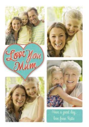 Greeting Cards - Love You Mum Heart Multi-Photo Upload Card - Image 1