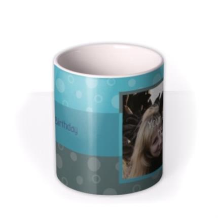 Mugs - Happy Birthday Blue Stripes Photo Upload Mug - Image 3