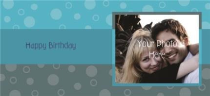 Mugs - Happy Birthday Blue Stripes Photo Upload Mug - Image 4