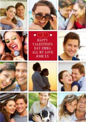 Greeting Cards - 11 Squares Personalised Photo Upload Happy Valentine's Day Card - Image 1