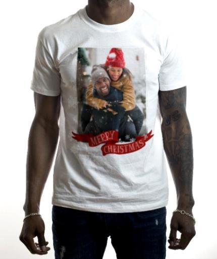 T-Shirts - Merry Christmas And Snowflakes Black T-Shirt - Image 2