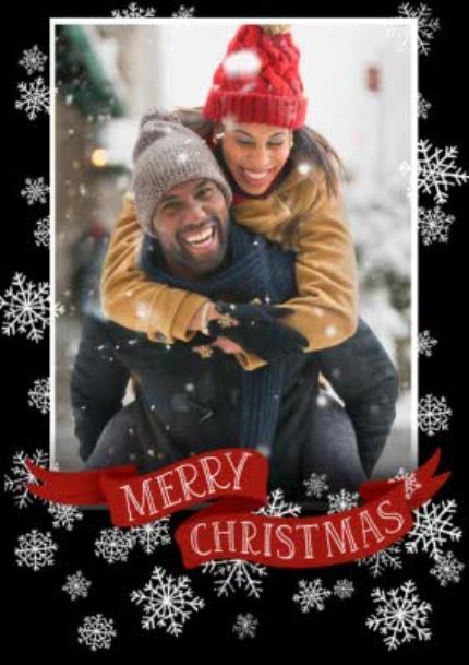 T-Shirts - Merry Christmas And Snowflakes Black T-Shirt - Image 4