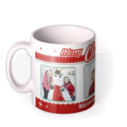 Mugs - Merry Christmas Trio Photo Upload Mug - Image 1