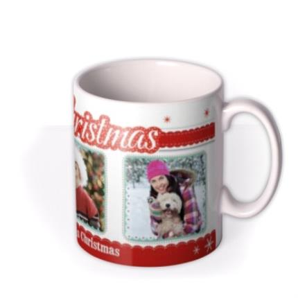 Mugs - Merry Christmas Trio Photo Upload Mug - Image 2