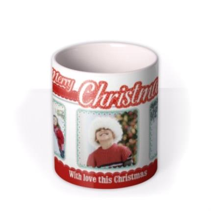 Mugs - Merry Christmas Trio Photo Upload Mug - Image 3