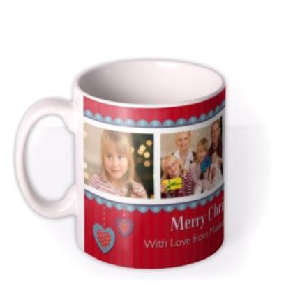 Mugs - Red Christmas Banner Photo Upload Mug - Image 1