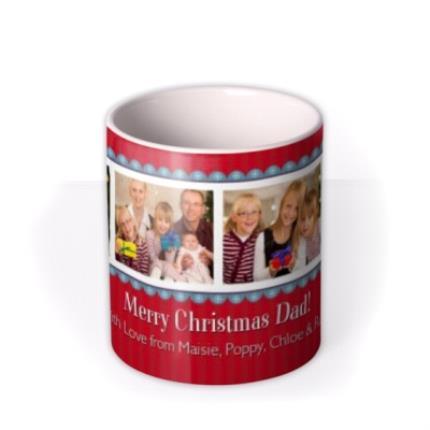 Mugs - Red Christmas Banner Photo Upload Mug - Image 3