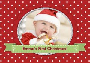 Spotted Personalised Photo Upload Baby S First Christmas Card Moonpig