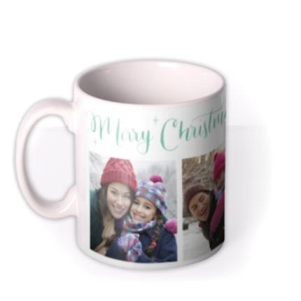 Mugs - Merry Christmas Green Stars Photo Upload Mug - Image 1