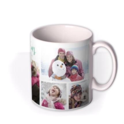 Mugs - Merry Christmas Green Stars Photo Upload Mug - Image 2
