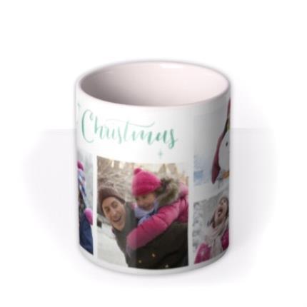 Mugs - Merry Christmas Green Stars Photo Upload Mug - Image 3