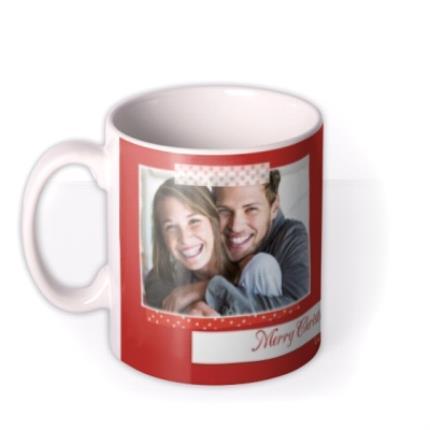 Mugs - Merry Christmas Red Tape Photo Upload Mug - Image 1