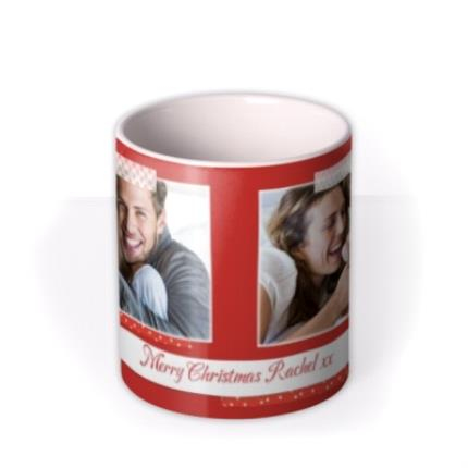 Mugs - Merry Christmas Red Tape Photo Upload Mug - Image 3