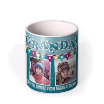 Mugs - Merry Christmas Grandad Blue Bunting Photo Upload Mug - Image 3