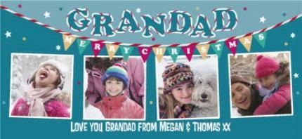 Mugs - Merry Christmas Grandad Blue Bunting Photo Upload Mug - Image 4