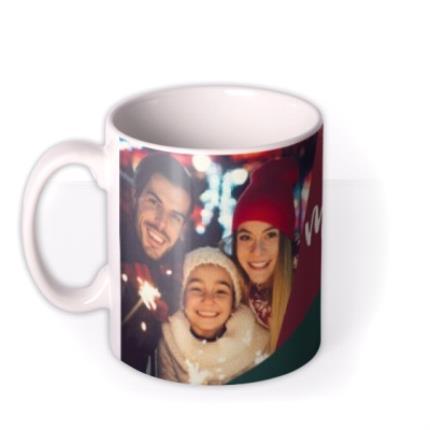 Mugs - Geometric Sparkles Photo Upload Merry Christmas Mug - Image 1