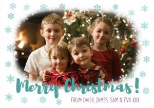 Greeting Cards - Merry Christmas Aqua Snowflake Merry Christmas Card - Image 1