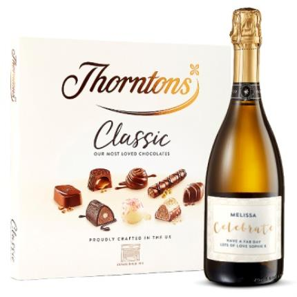 Alcohol Gifts - Personalised Prosecco & Thorntons Classic Collection (248g) Gift Set - Image 1