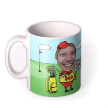 Mugs - Father's Day Golf Face Swap Photo Upload Mug - Image 1