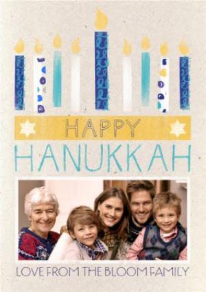 Greeting Cards - Lit Up Candles Personalised Photo Upload Happy Hanukkah Card - Image 1