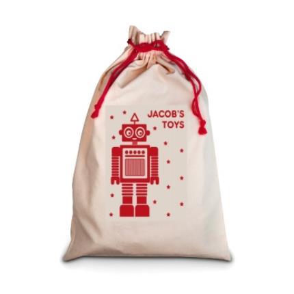 Gifts For Home - Personalised Robot Toy Sack - Image 1