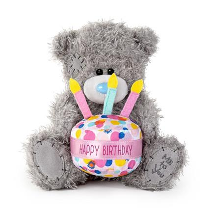 Soft Toys - Tatty Teddy Wearing a 'Happy Birthday' Cake Hat - Image 1