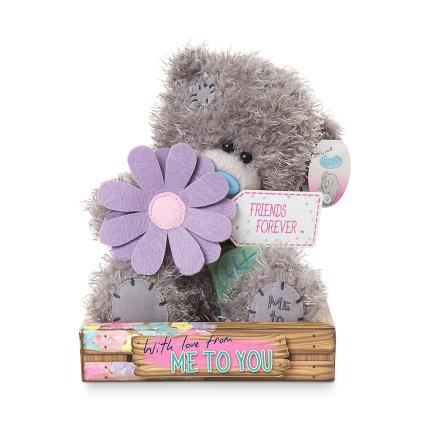 Soft Toys - 'Friends Forever' Tatty Teddy Holding a Flower - Image 1