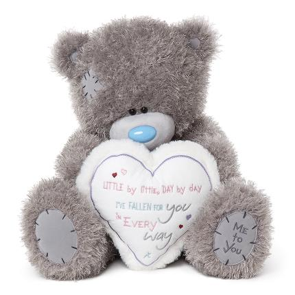 Soft Toys - Extra Large Tatty Teddy Holding a Heart - Image 1