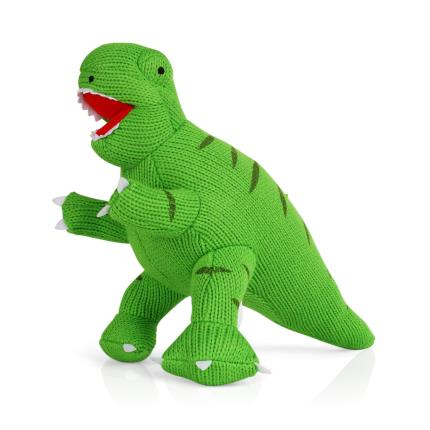 Soft Toys - Knitted Green T Rex - Image 1