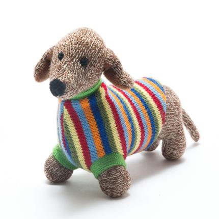Soft Toys - Best Years Cute Knitted Sausage Dog Soft Toy - Image 2