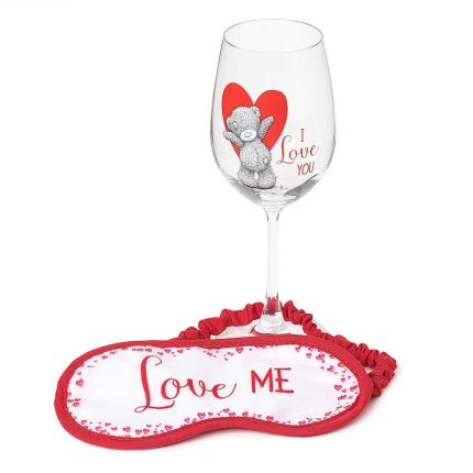 Soft Toys - Me To You Tatty Teddy Eye Mask & Wine Glass Gift Set - Image 1