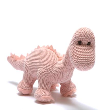 Soft Toys - Best Years Knitted Pink Dinosaur Toy Rattle - Image 2