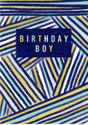Greeting Cards - Birthday boy blue and green striped card - Image 1