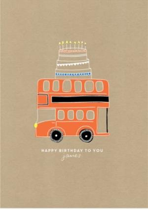 Greeting Cards - Birthday card - easy send - quick card - london bus - red bus - Image 1
