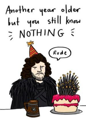 Greeting Cards - Another year older birthday card - Funny Jon Snow birthday card - Image 1