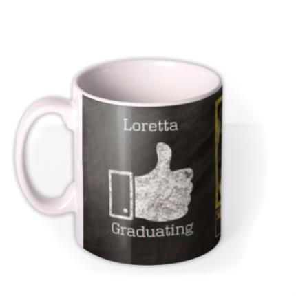 Mugs - Blackboard & Thumbs Up Graduation Photo Upload Mug - Image 1