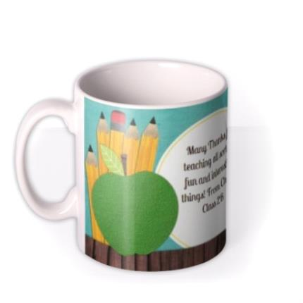 Mugs - Blackboard & Thumbs Up Teacher Photo Upload Mug - Image 1