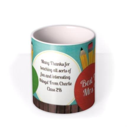 Mugs - Blackboard & Thumbs Up Teacher Photo Upload Mug - Image 3