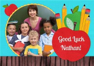 Greeting Cards - Apple On School Desk Personalised Photo Upload Good Luck Card - Image 1
