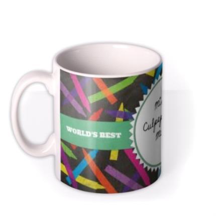 Mugs - World's Best Teacher Stencil Personalised Mug - Image 1