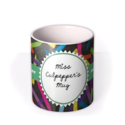 Mugs - World's Best Teacher Stencil Personalised Mug - Image 3