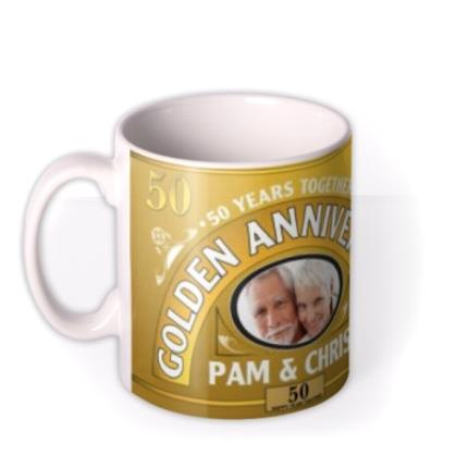 Mugs - Golden Anniversary Personalised Photo Upload Mug - Image 1