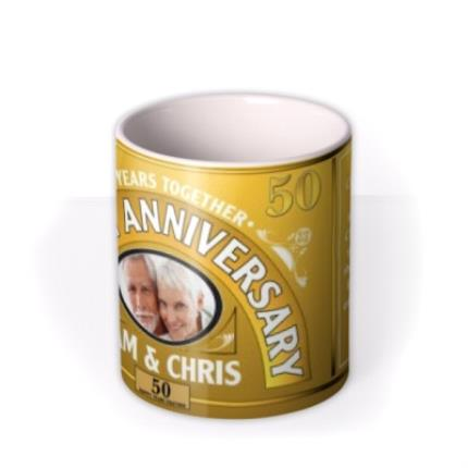 Mugs - Golden Anniversary Personalised Photo Upload Mug - Image 3