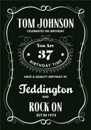 Whisky Spoof Packaging Personalised Happy 37th Birthday Card