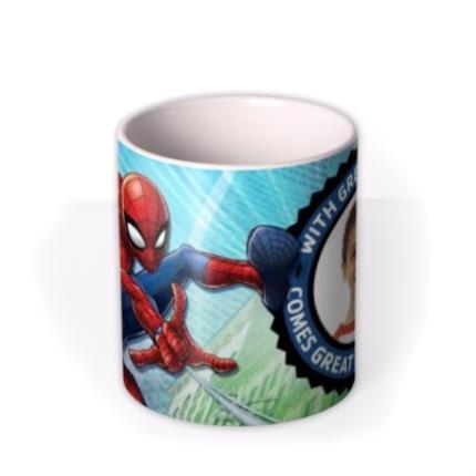 Mugs - Marvel Spiderman Great Power Photo Upload Mug - Image 3