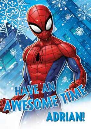 Spiderman Christmas.Marvel Spiderman Awesome Time Personalised Christmas Card