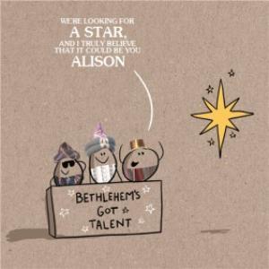 Greeting Cards - Bethlehem's Got Talent Personalised Christmas Card - Image 1