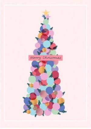 Greeting Cards - Bauble Tree Pink Christmas Card - Image 1