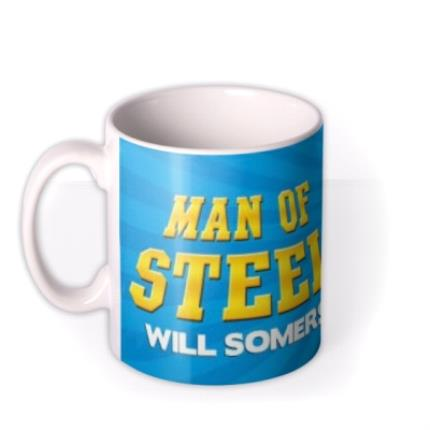 Mugs - Superman Man Of Steel Personalised Name Mug - Image 1
